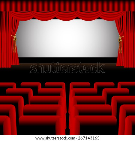 Vector theater stage with a red curtain, red seats and a cinema screen