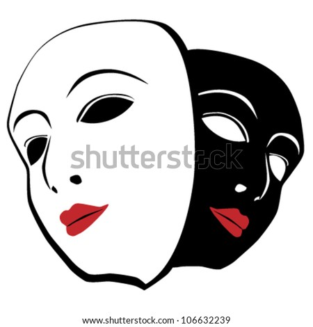 Vector theatrical masks - stock vector