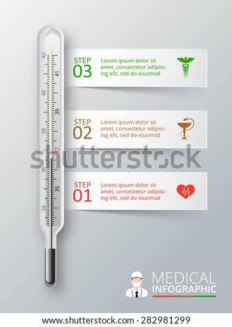 Vector thermometer for infographics. Template for diagram, graph, presentation and chart. Medical healthcare concept with 3 options, parts, steps or processes. Abstract background - stock vector