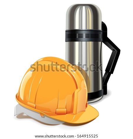 Vector Thermos with Helmet - stock vector