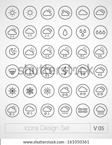 Vector thin icons design set. Weather icons set. Modern simple line icons.Material design.  Ultra thin icons on white background. Volume 5 - stock vector