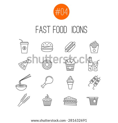 Vector thin line fast food  icons collection on white background