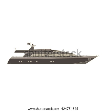 Vector thin line flat yacht, scooter, cargo, steamship, ferry, fishing boat, tug, bulk carrier, vessel, pleasure, cruise ship , powerboat with sea background concept. Cartoon outline illustration