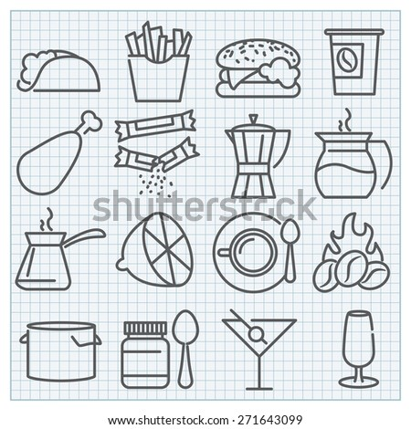 Vector thin line food and drink icons set for prints or web design and infographics - stock vector