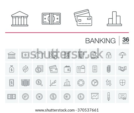 Vector thin line icons set and graphic design elements. Illustration with banking and finance outline symbols. Bank, card, wallet, coin, safe, money bag, cash, dollar, euro, pound linear pictogram