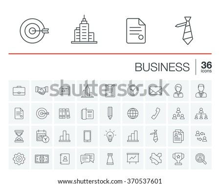 Vector thin line icons set and graphic design elements. Illustration with business and management outline symbols. Marketing research, strategy, service, career, mission, analytics linear pictogram