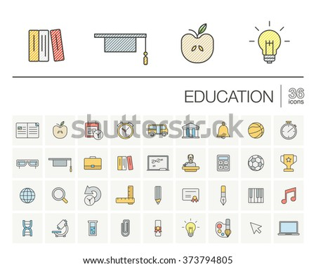 Vector thin line icons set and graphic design elements. Illustration with education, online learning, think outline symbols. Book, microscope, school, pen, elearning, teacher color pictogram - stock vector