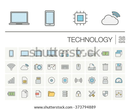 Vector thin line icons set and graphic design elements. Illustration with technology and digital outline symbols. Mobile phone, cloud computing, cogwheel, settings, network and media color pictogram - stock vector