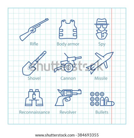 Vector thin line icons set for military infographics, mobile game UX,UI on paper background - stock vector