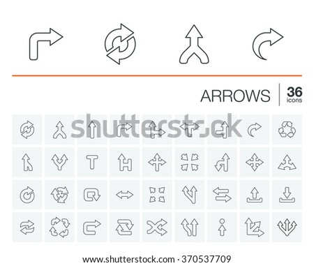 Vector thin line rounded icons set and graphic design elements. Illustration with arrows, direction and move outline symbols. Turn left, right, switch, undo linear pictogram