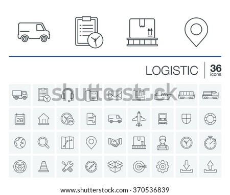Vector thin line rounded icons set and graphic design elements. Illustration with Logistic, delivery business, distribution outline symbols. Service, export, shipping, transport linear pictogram - stock vector