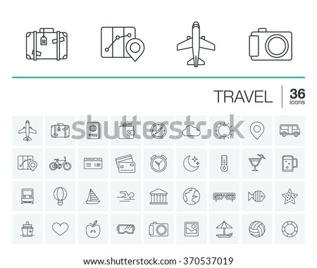 Vector thin line rounded icons set and graphic design elements. Illustration with travel, tourism outline symbols. Planning, summer, vacation, airplane, map, luggage, sunglasses linear pictogram - stock vector