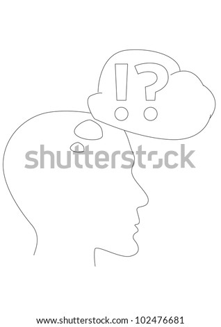 Vector thinking head - contour outline illustration - stock vector