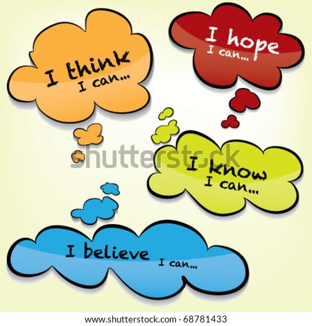 Vector Thought Bubbles - Glass Effect - stock vector