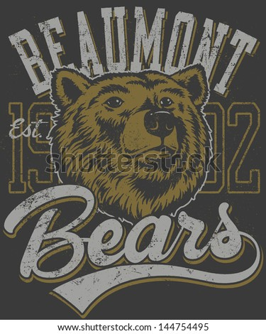 Vector three color retro bears mascot athletic design complete with bear head mascot illustration, vintage athletic fonts and matching textures (all on separate layers, of course). - stock vector