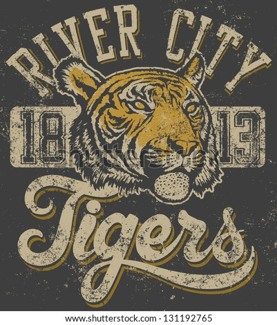 "Vector three color retro ""Tigers"" athletic design complete with tiger head mascot illustration, vintage athletic fonts (designed by myself) and matching textures (all on separate layers, of course). - stock vector"