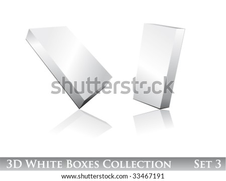 VECTOR Three dimensional Boxes Icon set with reflection and shadows - stock vector