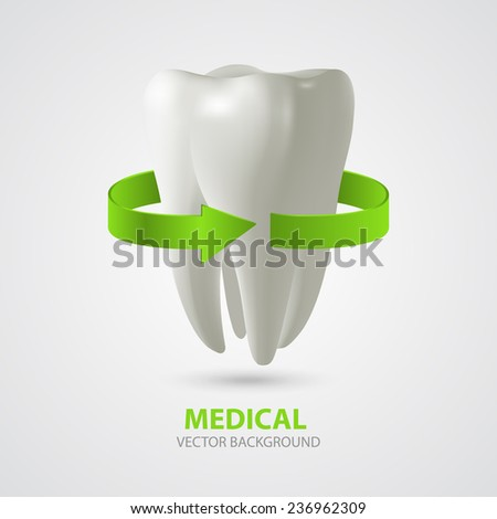 Vector three-dimensional tooth with green arrow sign. Medical background - stock vector