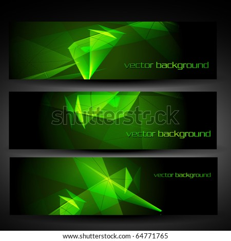 vector three green abstract eps10 banner set one - stock vector