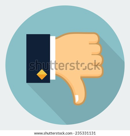 Vector thumb down icon - stock vector