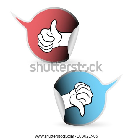 Vector thumb up and thumb down stickers