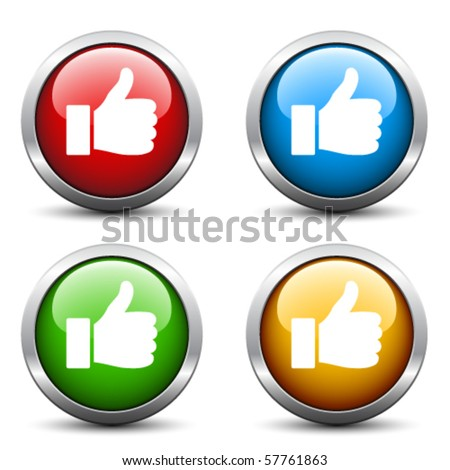 Vector thumb up buttons - stock vector
