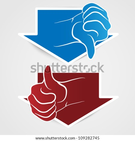 Vector thumb up sticker - big arrow - stock vector