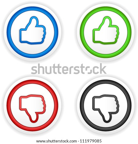 vector thumbs up and down buttons - stock vector