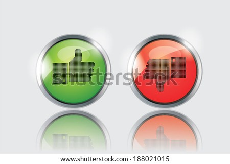 Vector thumbs up and down glossy buttons on white background. - stock vector