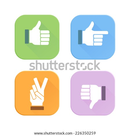 Vector thumbs up flat style icons set - stock vector