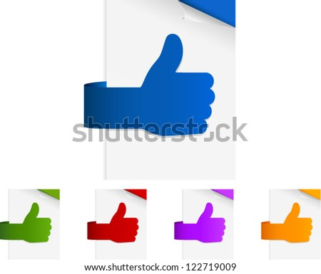 vector thumbs up shaped paper tags - stock vector