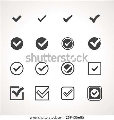 Vector Tick Check Mark Icon Set - stock vector