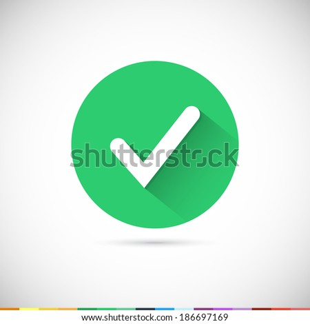 Vector tick icon. Flat UI. Vector Illustration EPS10. - stock vector