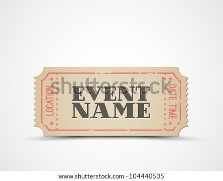 Vector ticket template for your event - brown and red - stock vector
