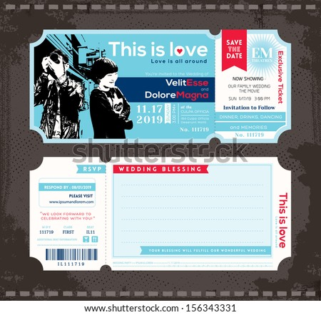 Vector Ticket Wedding Invitation Design Template - stock vector
