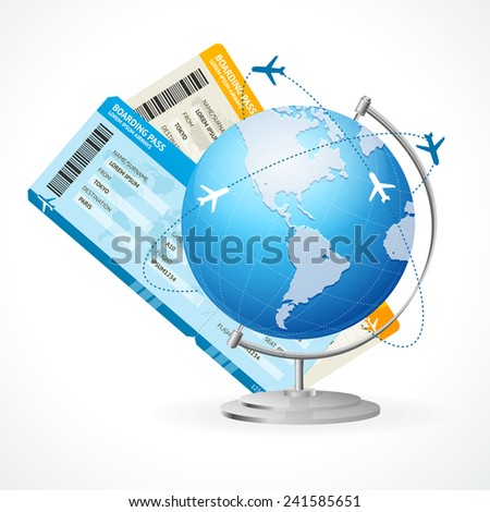 Vector tickets and globe, travel concept isolated on white - stock vector