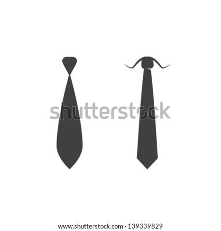 Vector Tie Icon Symbol Set - stock vector