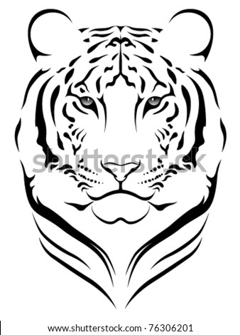 Vector tiger, tattoo - stock vector