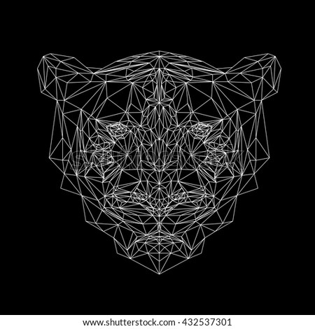 Vector tiger thin line style.  Cat low poly design illustration. Abstract mammal animal. Geometric tiger. - stock vector