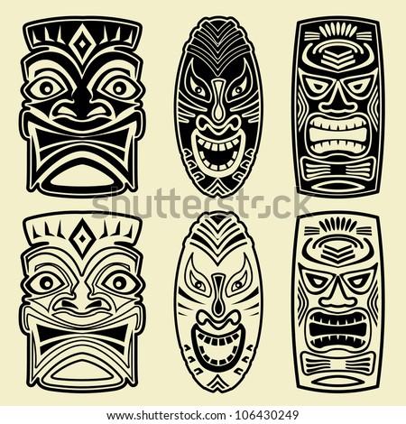 Vector Tiki Masks - stock vector
