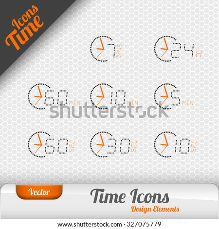 Vector time icons isolated on the gray background. Design elements. - stock vector