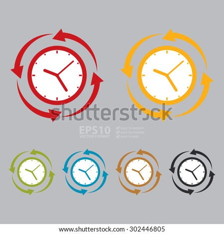 Vector : Time Management, Clock With Arrow Around Infographic  Flat Icon, Sign