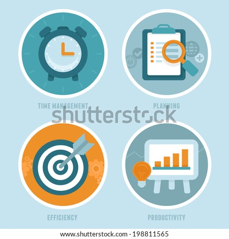 Vector time management concepts in flat style - modern icons - productivity, efficiency and planning for business and personal growth - stock vector