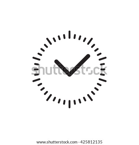 Vector time or clock icon, logo, template, pictogram. Modern emblem for business, market, shop, internet, design. Trendy simple watch, timepiece or timer, symbol. - stock vector
