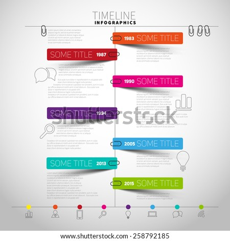 Vector timeline Infographic report template with paper stripes and icons - stock vector