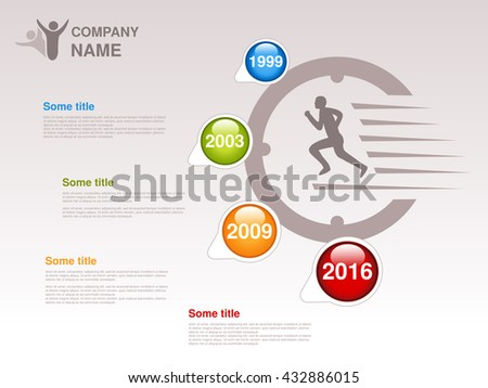 Vector timeline. Infographic template. Timeline with colorful milestones - blue, green, orange, red. Pointer of individual years. Graphic design with clock and fast runner. Profile of company.