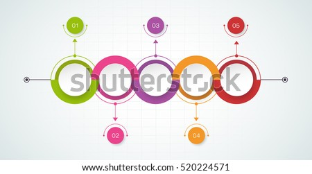 vector timeline infographics design template with 3d paper label integrated circles background blank space - Empty Flow Chart Template