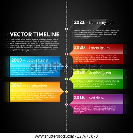 Vector timeline template with colorful glossy tabs. - stock vector