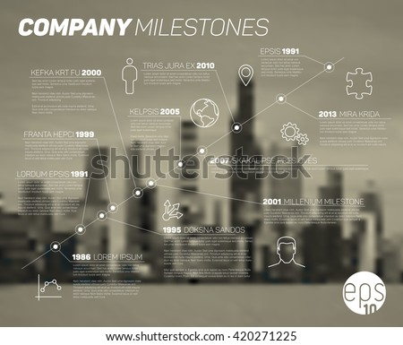 Vector timeline. Timeline Infographic. Diagonal timeline. Timeline report. Timeline template. Timeline with icons. Timeline with blurred city background. Urban timeline. Infographic timeline. - stock vector
