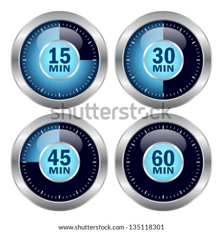 Vector timer icons set - stock vector